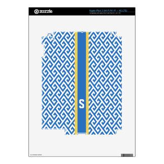 Chic blue greek key geometric patterns monogram decals for iPad 3