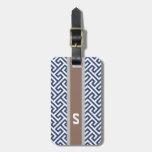 Chic blue greek key geometric patterns monogram travel bag tag