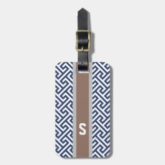 Chic blue greek key geometric patterns monogram luggage tag