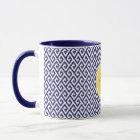 Chic blue greek key geometric patterns monogram mug
