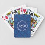 Chic blue greek key geometric patterns monogram card deck