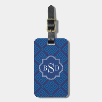 Chic blue greek key geometric patterns monogram tag for luggage