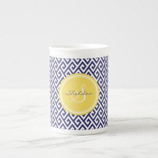 Chic blue greek key geometric patterns monogram tea cup