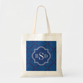 Chic blue greek key geometric patterns monogram tote bag