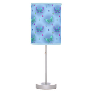 Chic Blue & Green Butterflies & Jewels Images Desk Lamp