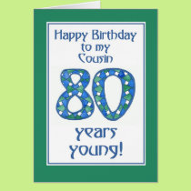 Chic Blue, Green, White 80th Birthday for Cousin Card