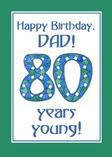 Chic Blue Green White 80th Birthday For Dad Card