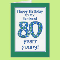 Chic Blue, Green, White 80th Birthday for Husband Card