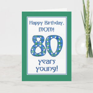 Chic Blue Green White 80th Birthday For Mom Card