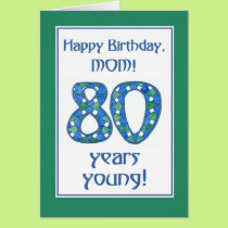 Chic Blue, Green, White 80th Birthday for Mom Card