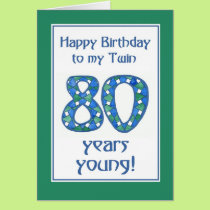 Chic Blue, Green, White 80th Birthday for Twin Card