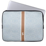 Chic blue grey abstract geometric pattern monogram laptop computer sleeves