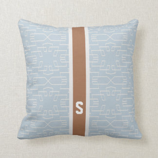 Chic blue grey abstract geometric pattern monogram throw pillows