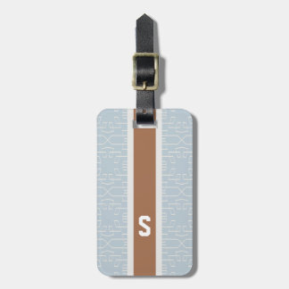 Chic blue grey abstract geometric pattern monogram tag for luggage