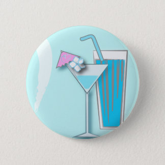 Chic Blue Hawaii Martini Wedding Favors Button