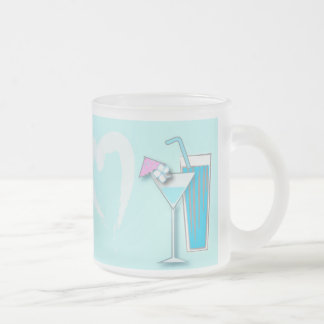 Chic Blue Hawaii Martini Wedding Favors Frosted Glass Coffee Mug