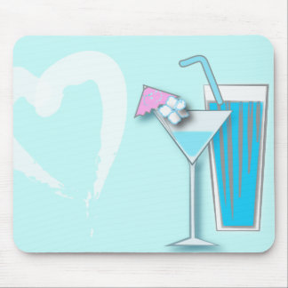 Chic Blue Hawaii Martini Wedding Favors Mouse Pad