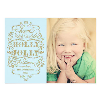 Chic Blue Holly Jolly Christmas Custom Photo Cards