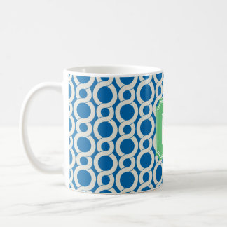 Chic blue interlocking pattern monogram coffee mug
