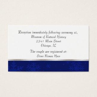 Chic Blue Jeweled Snowflake Wedding Enclosure Card