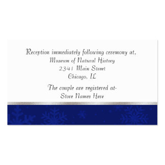 Chic Blue Jeweled Snowflake Wedding Enclosure Card Business Card