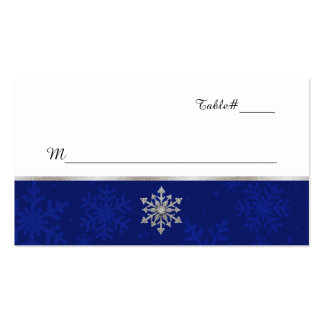 Chic Blue Jeweled Snowflake Wedding Place Card Double-Sided Standard Business Cards (Pack Of 100)