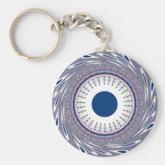 Chic  blue basic round button keychain