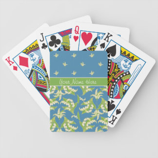 Chic Blue Lily-of-the-Vally Floral Playing Cards