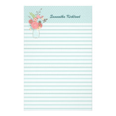 Chic Blue Lined Custom Stationery at Zazzle