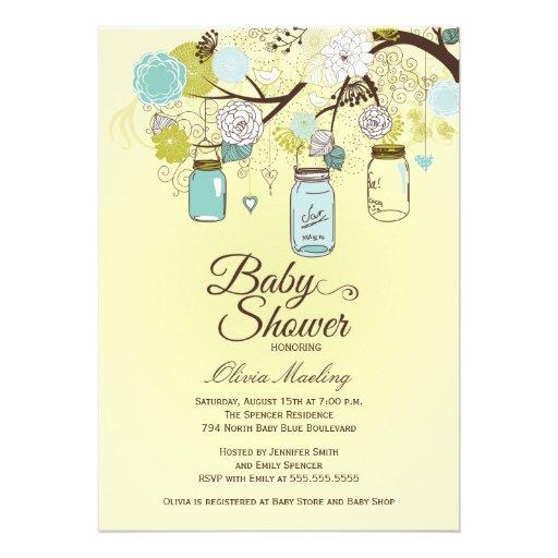 chic blue mason jar floral baby shower invitation 5 x 7 invitatio