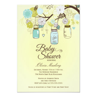 Chic blue mason jar floral baby shower invitation