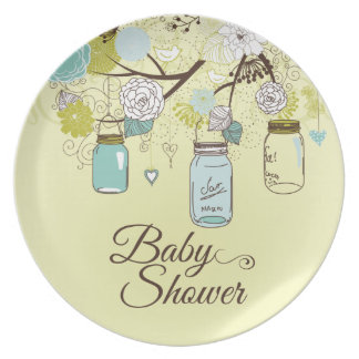 Chic blue mason jar floral baby shower plate