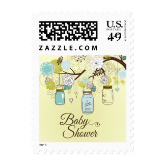 Chic blue mason jar floral baby shower stamps