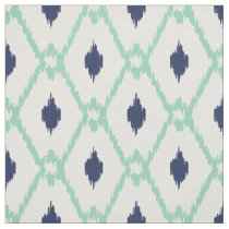 Chic blue mint ikat tribal diamond pattern fabric