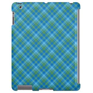 Chic Blue Morning Glory Plaid iPad Case-Mate Case