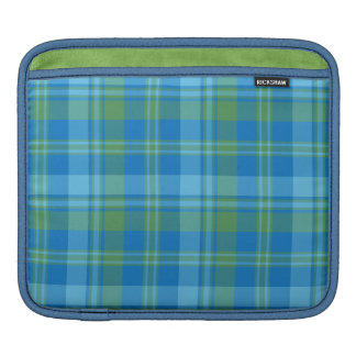 Chic Blue Morning Glory Plaid Rickshaw iPad Sleeve