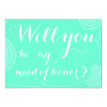 """Chic Blue Paisley Will You Be My Maid Of Honor 5"""" X 7"""" Invitation Card"""
