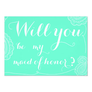 Chic Blue Paisley Will You Be My Maid Of Honor Custom Invitations