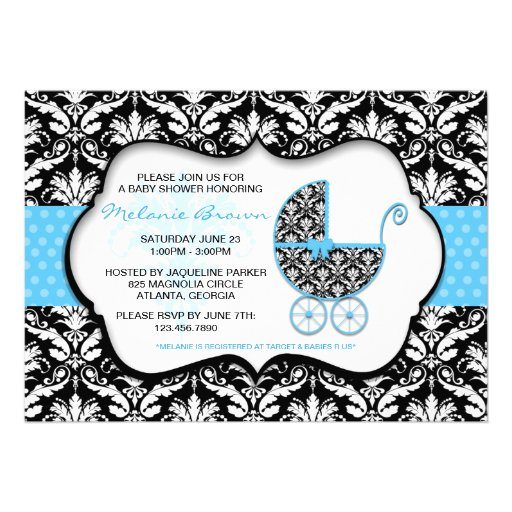 Chic Blue Polka Dot Damask Baby Shower Invite