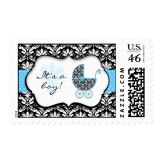 Chic Blue Polka Dot Damask Baby Shower Stamps