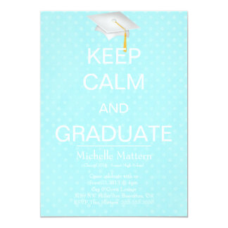 Chic Blue Polka Dot Keep Calm and Graduate Invite