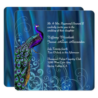 Chic Blue Satin And Peacock Wedding Invitation