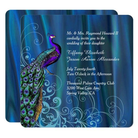 Www Zazzle Com Wedding Invitations: Chic Blue Satin And Peacock Wedding Invitation