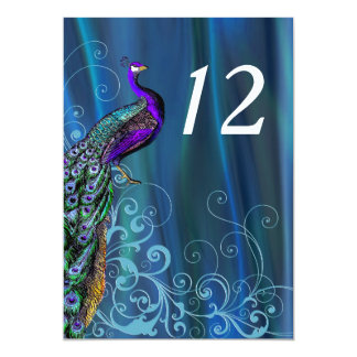 Chic Blue Satin Look Wedding Table Number Card