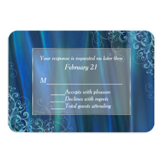 Chic Blue Satin Wedding Response Card