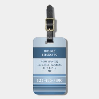 Chic Blue Silver Metallic Stripe Luggage Tag