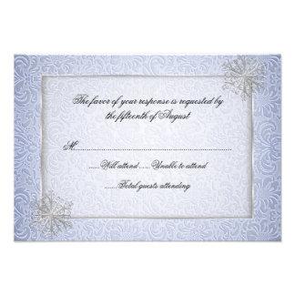 Chic Blue Snowflake Wedding Response Card Announcement