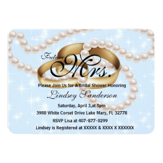 Chic Blue Sparkle Rings With Pearls Bridal Invite
