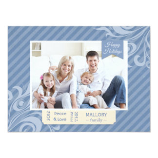 "Chic Blue Stripe Christmas Flat Card 6.5"" X 8.75"" Invitation Card"