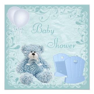 Chic Blue Teddy & Crib Baby Boy Shower Card